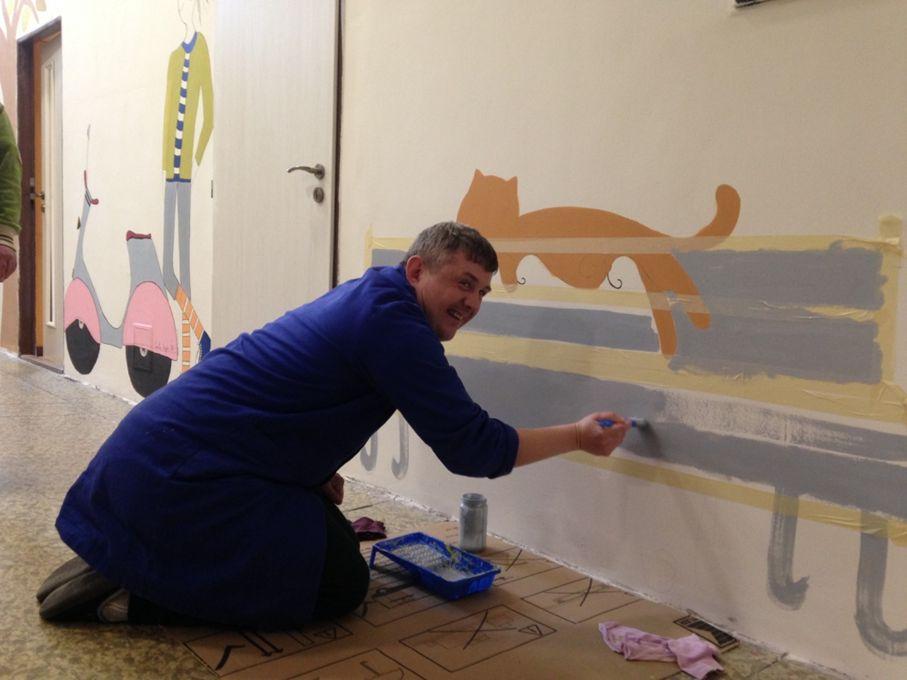 Maľovanie stien v prevádzke Lipovec
